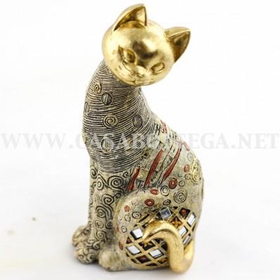 Gatto in oro con pietre statua