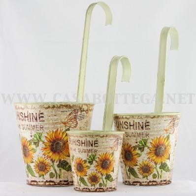 """Porta piante contenitore in latta decoupage """"Girasoli"""""""