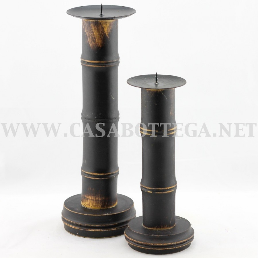 porta candela in legno di bamboo