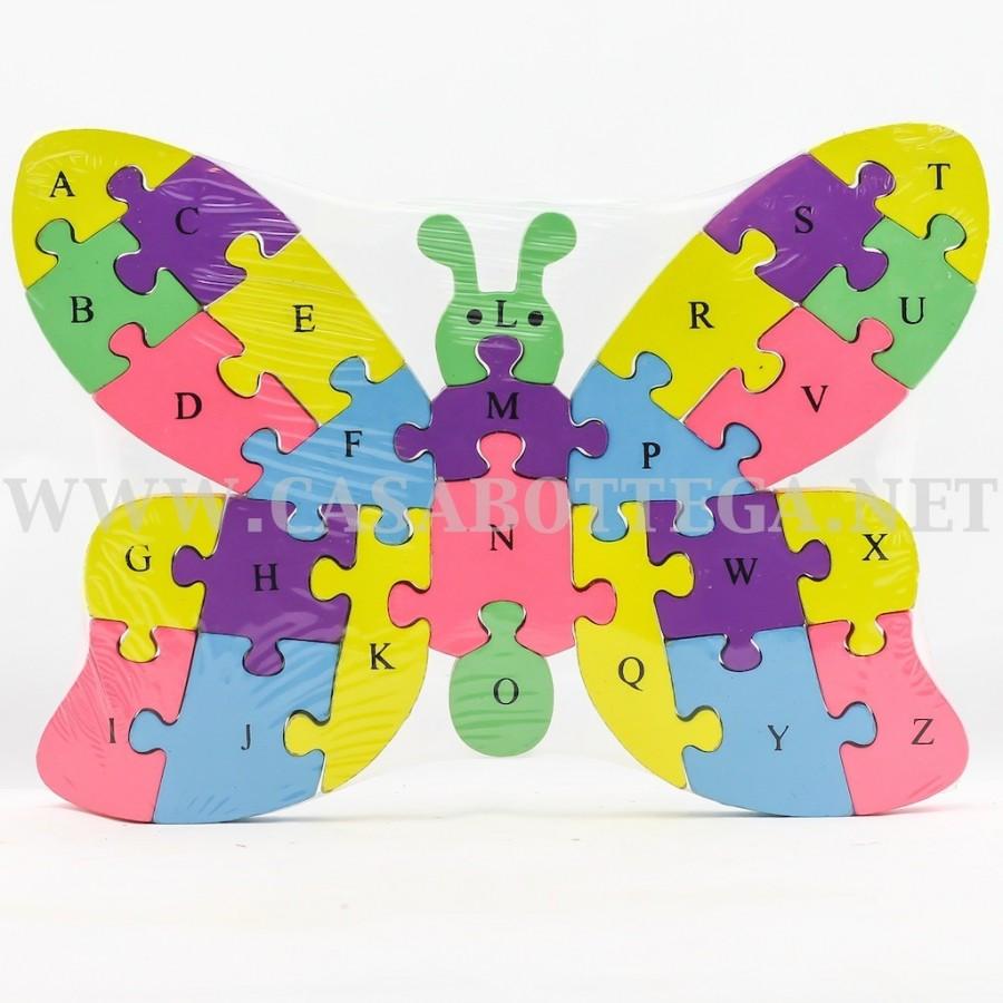 Giochi Puzzle In Legno Con Lettere E Numeri Farfalla Casabottega