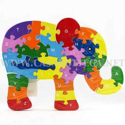 Giochi Puzzle In Legno Con Lettere E Numeri Elefante Casabottega