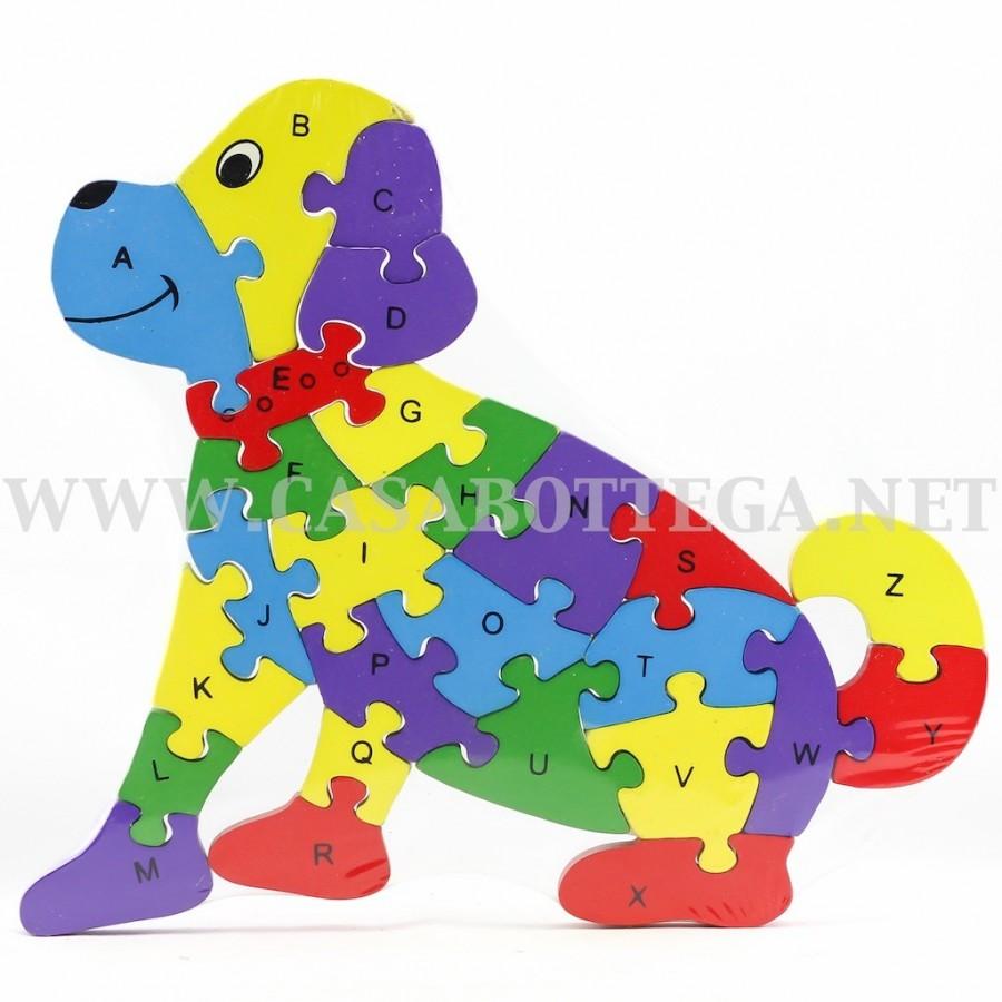 Puzzle In Legno Lettere E Numeri Cane