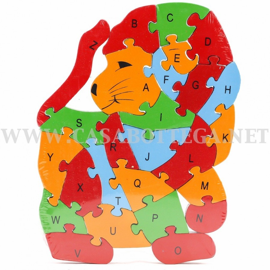 Giochi Puzzle In Legno Con Lettere E Numeri Leone Casabottega