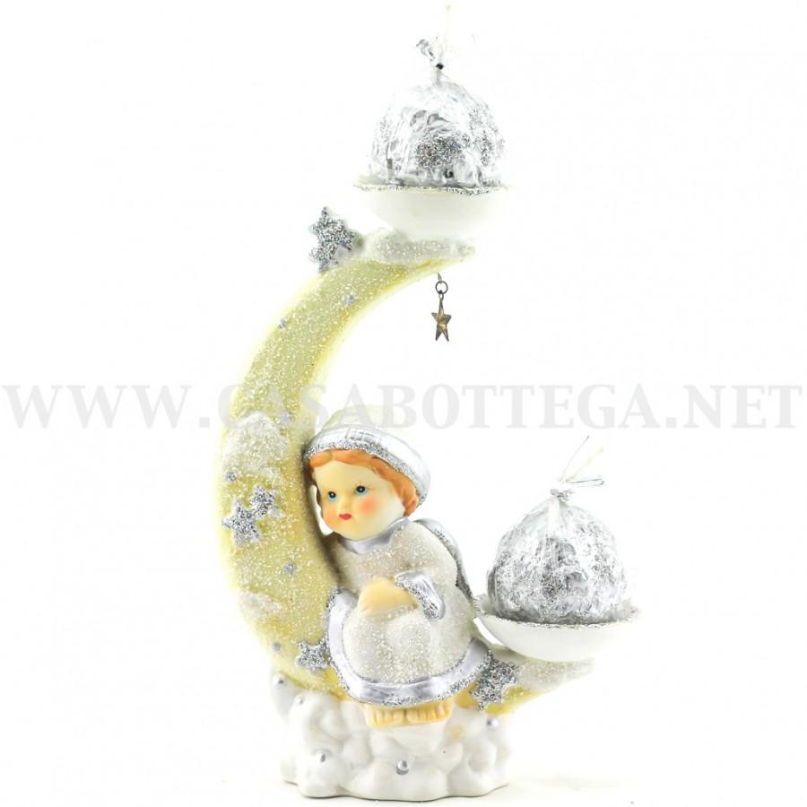 Porta candela luna con candele decorazione natalizia for Porta candela
