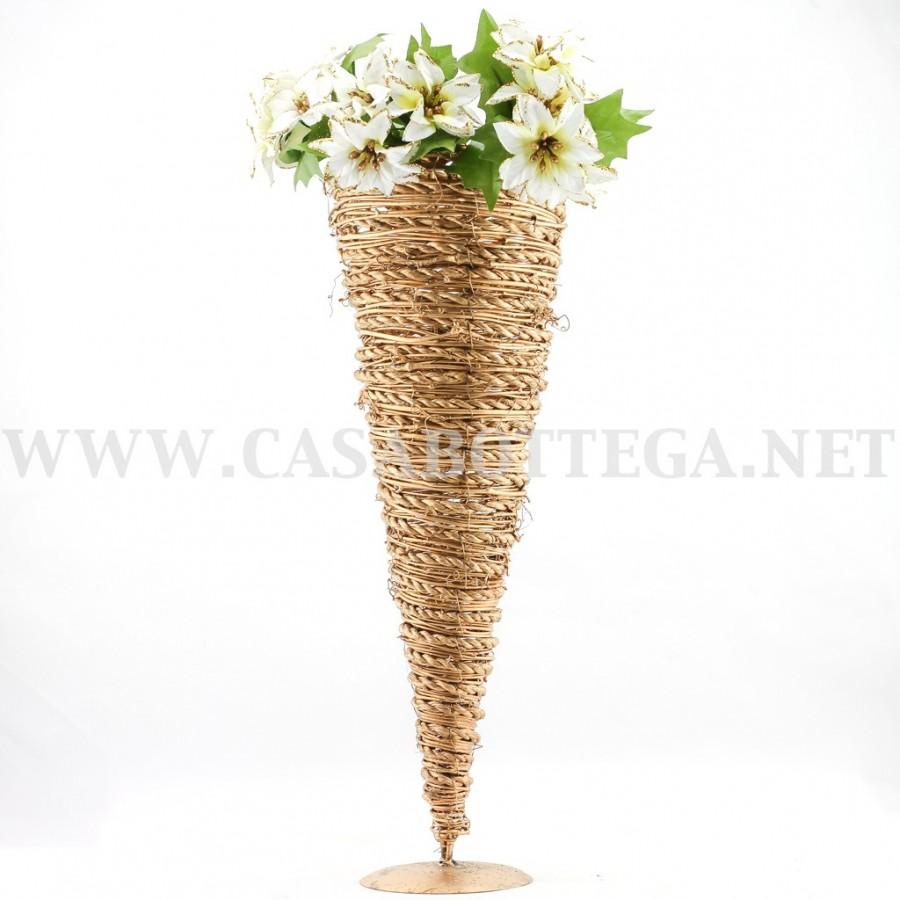 Vaso in vimini oro per fiori decorazione natalizia - Vaso da interno ...