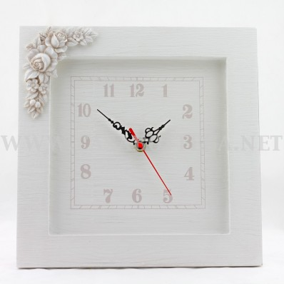 Orologio da parete in legno bianco