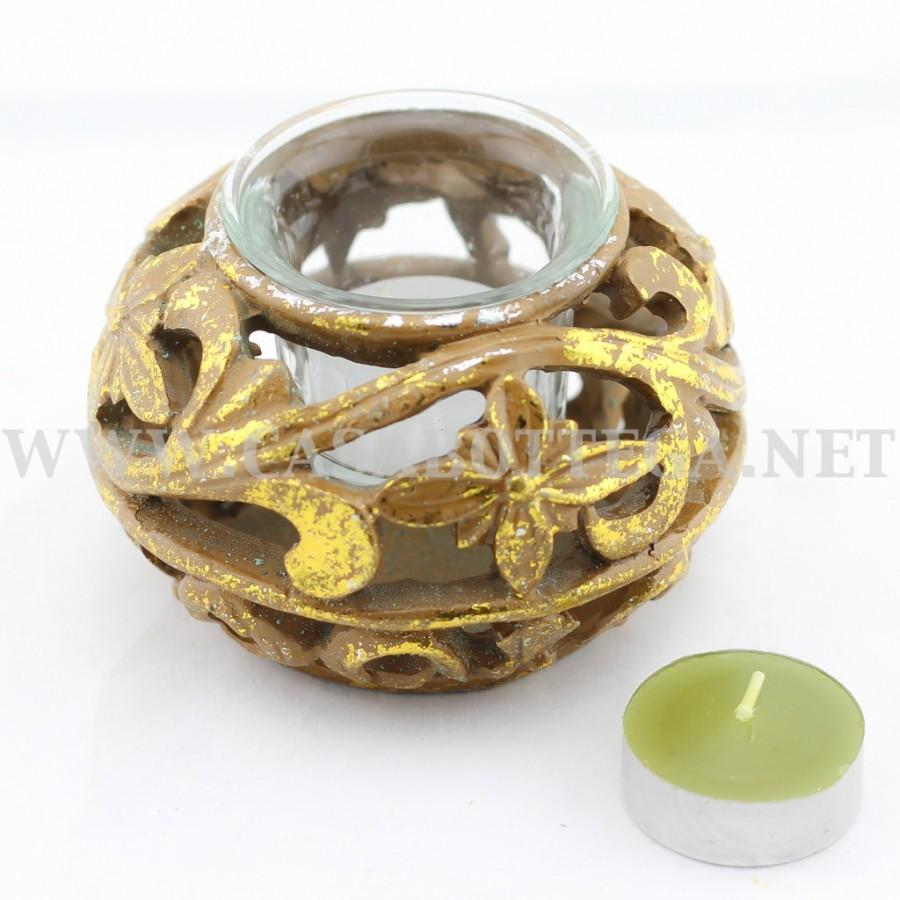 Porta candele tea light in resina oro con vetro casabottega - Porta tea light ...