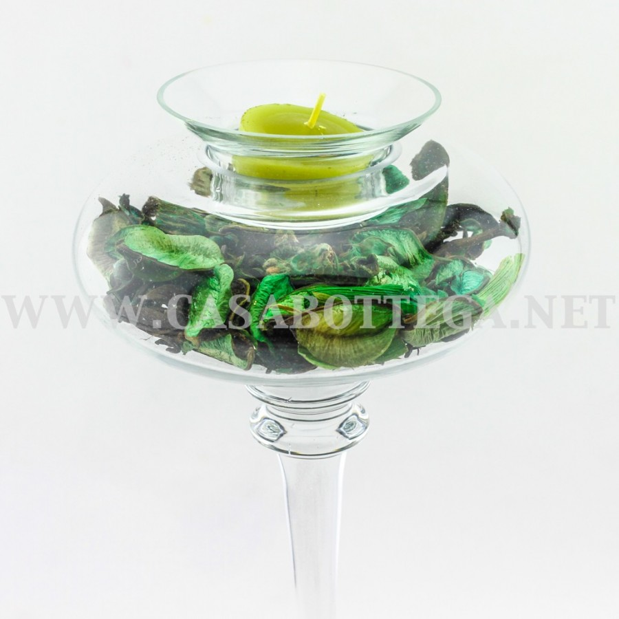Porta candela tea light in vetro con pout pourry - Porta tea light ...