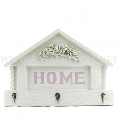 """Porta chiavi """"home"""" in legno bianco decorato"""
