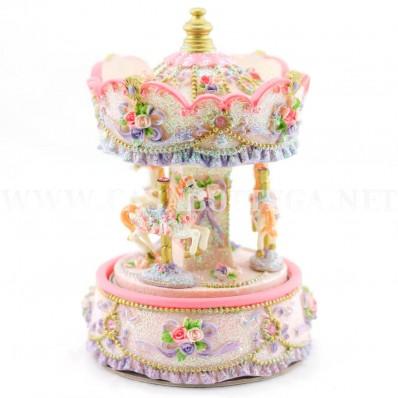 Giostra carillon rosa cavalli carousel in resina