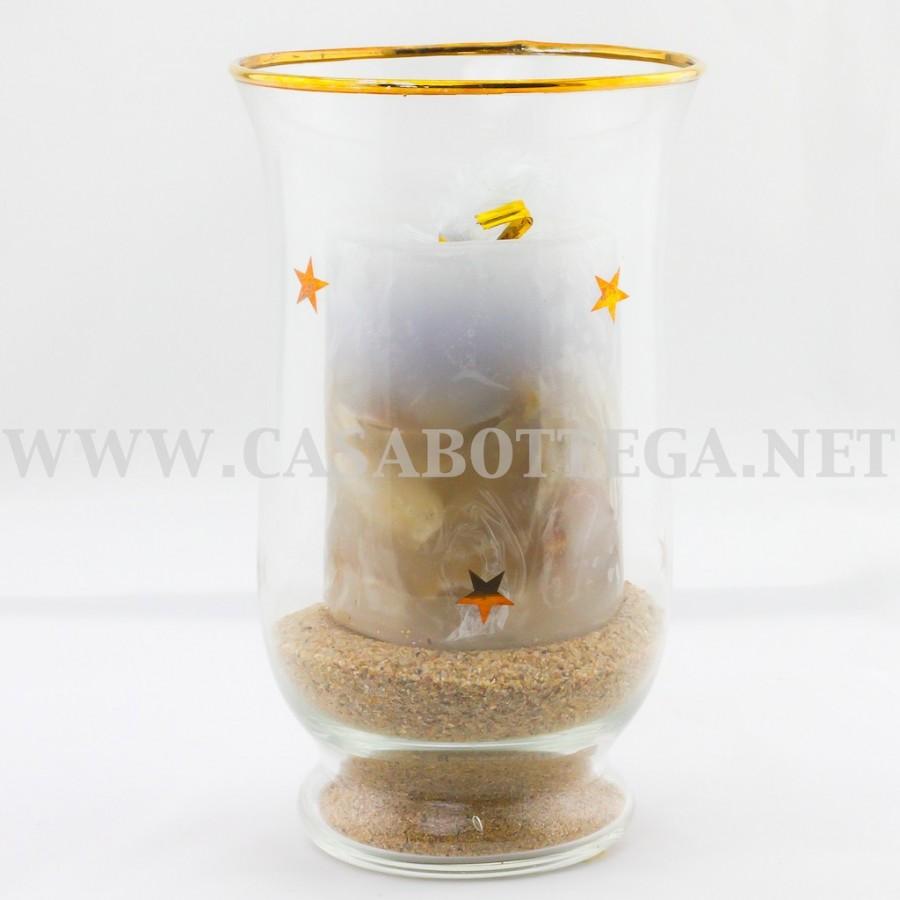 Porta candela tea light in vetro con pout pourry - Portacandele in vetro ...