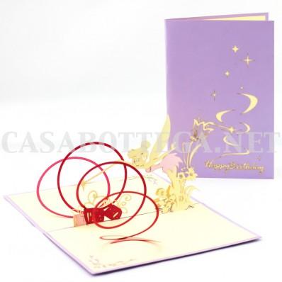 Biglietto auguri 3d angeli fata campanellino - kirigami - card 3d - pop up