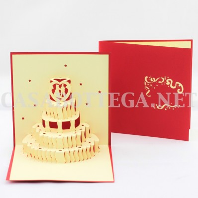 Biglietto Auguri Matrimonio Pop Up : Biglietto auguri 3d torta matrimonio wedding kirigami card 3d