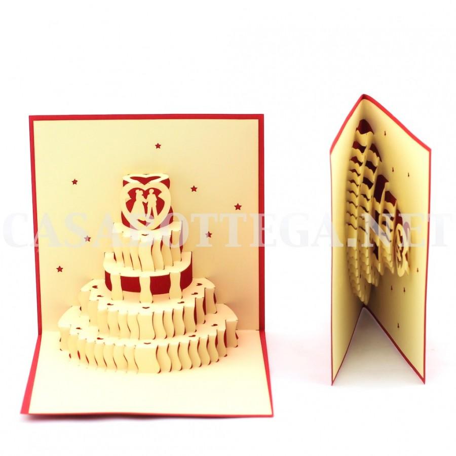 Partecipazioni Matrimonio Kirigami.Biglietto Auguri 3d Torta Matrimonio Wedding Kirigami Card 3d