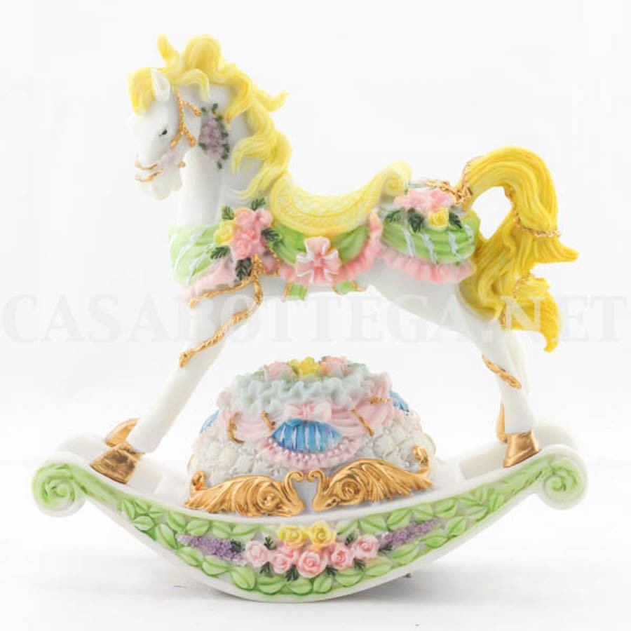 Dondolo Che Dondola.Cavallo A Dondolo Con Carillon In Resina Che Dondola