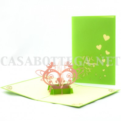 Biglietto auguri 3d angeli cupido - kirigami - card 3d - pop up