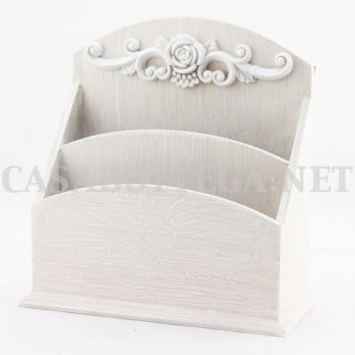"""Porta lettere """"home"""" bianco in legno"""