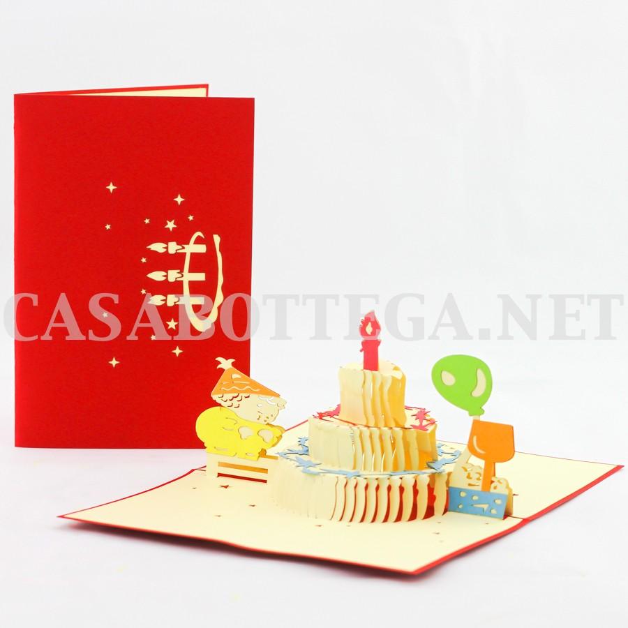 Biglietto auguri 3d buon compleanno torta   kirigami   card 3d