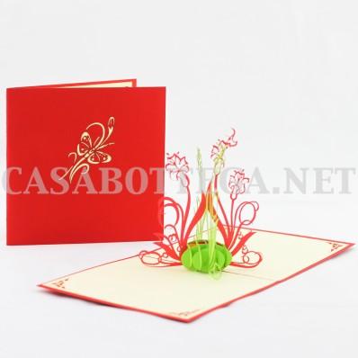 Biglietto auguri 3d fiori - kirigami - card 3d - pop up