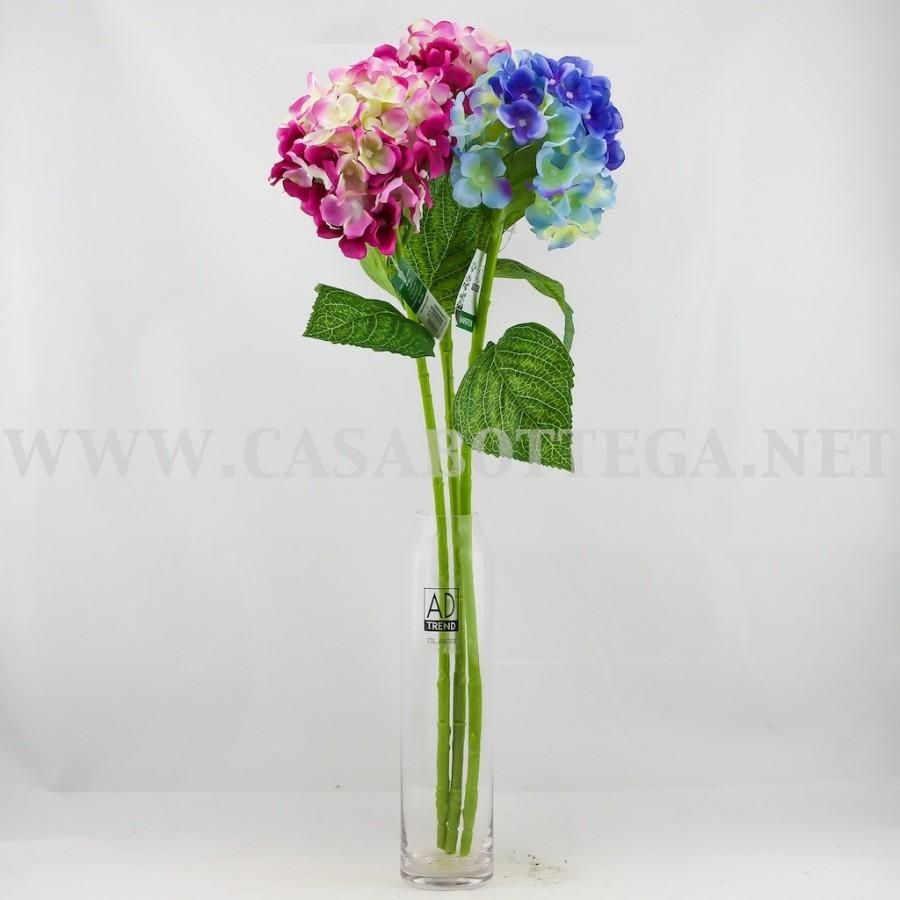 Vaso Con Ortensie Finte vaso in vetro per fiori